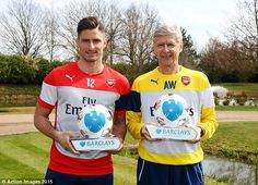 Olivier Giroud (left) and Arsene Wenger are the Premier League Player and Manager of the M...