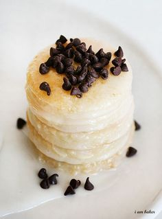 pancakes with a glaze and chocolate chips