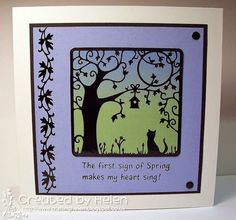 Could use Memory Box dies to create this scene.  Using 'Silhouette Cat Birdhouse Tree' Outline Stickers