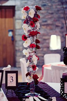Red and white wedding table flower centrepiece - Gothic Wedding Photo Shoot at Browsholme Hall Centerpiece Decorations, Wedding Centerpieces, Gothic Wedding Decorations, Seating Plan Wedding, Seating Plans, Red And White Weddings, Red Wedding, Wedding Things, Wedding Stuff