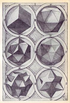 Terra (b) - Perspectiva Corporum Regularium - Wenzel Jamnitzer 1568 by peacay Solid Geometry, Sacred Geometry, Illustrations, Illustration Art, Platonic Solid, Math Art, Sacred Art, Geometric Shapes, Geometric Solids