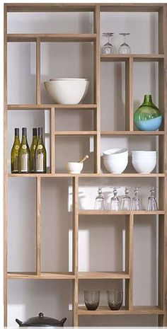 divided open shelving
