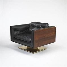Warren Platner; Brass-Plated Steel, Walnut and Leather Lounge Chair for Lehigh Leopold, c1970.