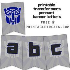 Printable Transformers Birthday Banner from PrintableTreats.com