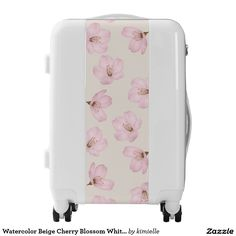 Watercolor Beige Cherry Blossom White Suitcase