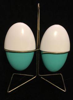 Vintage 50s 60s Atomic Mid Century Modern Aqua Egg Salt Pepper Shakers