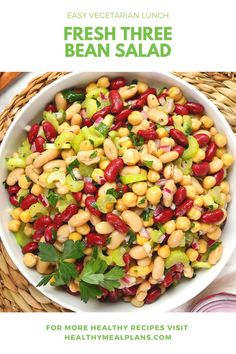 This yummy Three Bean Salad comes together using beans that you probably already have in your pantry! It starts with black-eyed peas, kidney beans, and chickpeas and is topped with a flavorful dressing! Easy Vegetarian Lunch, Vegetarian Recipes, Healthy Recipes, Three Bean Salad, Three Beans, Celery Rib, Chickpea Curry, Sunday Meal Prep, Canned Chickpeas