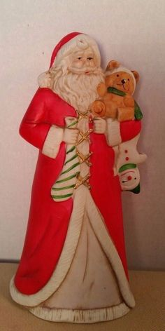Santa Claus Ceramic Figure Christmas Holiday Country Primitive Winter Clause 8in