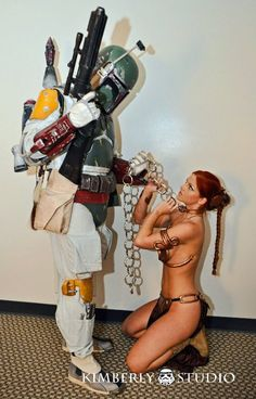 Slave Leia & Fett  - femtrooperjulie - Pacific Outpost-501st Photoshoot