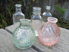 SWEET Vintage Bud Vase Lot- Set of 5. $10.00, via Etsy.