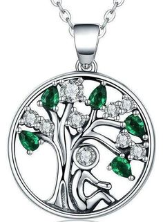 Women Sterling Silver Necklace with Life of Tree Green Cubic Zirconia Pendant Jewelry #silvernecklace
