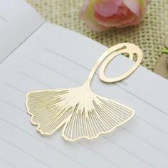 $4.35 Creative 5PCS Leaf Shape Golden Bookmarks