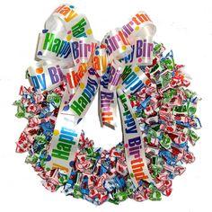 Fruit Chews Candy Wreath - Happy Birthday Ribbon