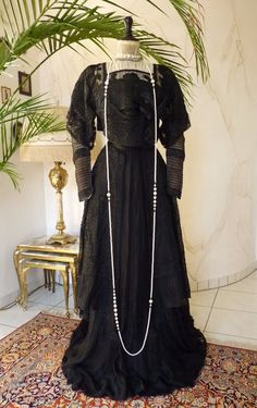 1908 Art Nouveau Black Silk Gown, antique dress, antique gown, robe ancienne   eBay