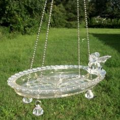 Vintage Relish Tray Glass Bird Hanging Feeder by ARTfulSalvage, $30.00 by djkattt  Love repurposing dishes like this - a beautiful way to use those dishes that have been passed down that have been sitting in the cupboard.