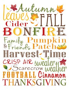 Fall Subway Art - Free Printable!