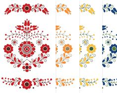 Scandinavian Folk Art Motif Clipart. Swedish Hungarian European Mexican…