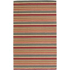 Hand-tufted in India, this New Zealand wool rug features a Mandara stripe design in shades of red, grey, gold, and beige. A plush pile height completes the look and feel of this area rug.