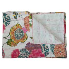 Floral cotton kantha-print throw.  Product: ThrowConstruction Material: CottonColor: White