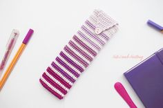 Crochet Pencil case, crochet purple ombre Pencil Case, crochet study essentials, crochet pen case, study accessories, study essentials by CuteLambKnitting on Etsy