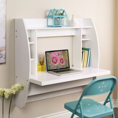 Furniture. Small White Wall Mount Computer Desk With Storage For Teen Girls Feat…