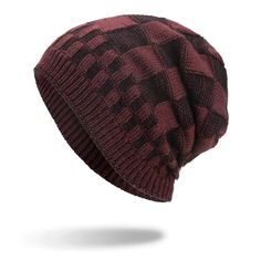 Mens Square Lattice Wool Velvet Knitted Hat Warm Good Elastic Hat Winter Outdoor Casual Beanie is hot sale on Newchic. Square Lattice, Knit Beanie Hat, Winter Colors, Cotton Style, St Kitts And Nevis, Knitted Hats, Coral, Velvet, Warm