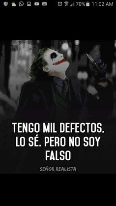 Quién  me dijo esto ??? Ah sí  ... tú  bipolar, doble cara!!!! Decepción Total Joker Frases, Joker Quotes, Motivational Phrases, Inspirational Quotes, Joker And Harley, Spanish Quotes, Life Quotes, Aa Quotes, Quotes Amor