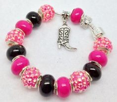 Hot Pink Cowgirl Charm Bracelet by Graceandliz on Etsy, $15.00