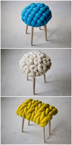 These knitted stools by Claire Anne O'Brien are pretty darn cute, yes?       claire anne o'brien