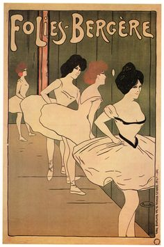 FoliesBergere Vintage French Poster 95 x 14 by JohnKlineArtwork, $10.00