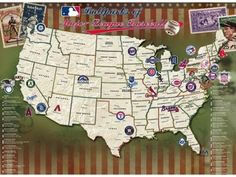 Map Your Travels: Unique baseball map displays all the major league baseball stadiums (past and present) throughout the country.