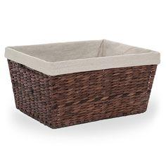 Audrey Light Brown Rush Storage Basket with Liner - Medium 13in -- $10.75 (www.luckyclovertrading.com)
