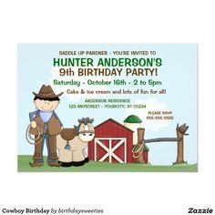 Cowboy Birthday 5x7 Paper Invitation Card