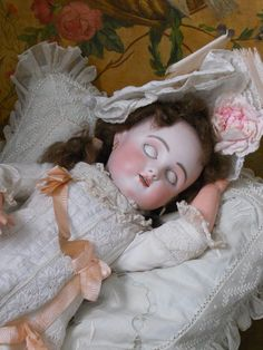 / Rare French  Sleeping Beauty  Bisque BeBe Steiner with Steiner Signed Eyes / Bourgoin ~~~