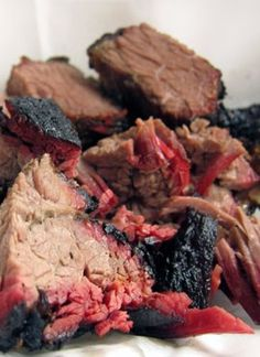 """BRISKET BURNT ENDS ~~~ when this southern-bred pork barbecue-eatin' girl moved to a state where barbecue means, """"beef"""", the crisped bits of meat cut from the point half of a smoked brisket aka burnt ends helped her from totally losing her mind :-) gateway: this post's link leads to a 411 on all things burnt end and then some + http://www.saveur.com/article/Recipes/Burnt-Ends [USA, Texas and Kansas City] [seriouseats]"""