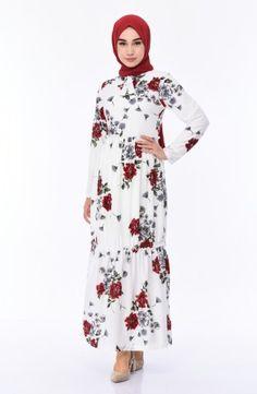 Sefamerve Cicek Desenli Elbise 4233 05 Beyaz Kirmizi Islamic Dress Dresses Long Sleeve Dress