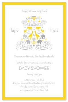 Adorable invite for a twins baby shower - Noah's Arc themed