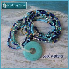 Turquoise Multistrand Gemstone Pendant Necklace by JewelryByScotti
