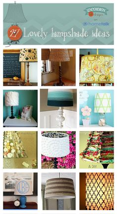 26 easy DIY lampshades that look fantastic! Lampshades, Lampshade Ideas, Lamp Ideas, Decor Ideas, Craft Ideas, Diy Projects To Try, Home Projects, Cool Diy, Easy Diy