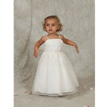 Baby Flower Girl Dress style i162t by Sweetie Pie Collection has a peau satin, spaghetti strap beaded bodice, with a full organza skirt. It has pleated organza waistline treatment. www.SweetiePieCollection.com