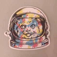 Spaceman Spacecat Astronaut cute Sticker Decal Skateboard Guitar Vinyl Car