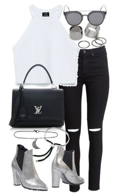 """""""Untitled #18588"""" by florencia95 ❤ liked on Polyvore featuring H&M, Zara, Pieces, Luca Valentini, Louis Vuitton, GANT, Monica Vinader, ADORNIA and apopofluxury"""
