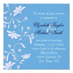 Luxury Romantic Blue Floral Swirls Wedding Invite
