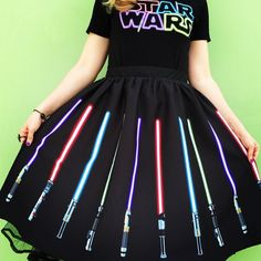 Modcloth Novelty Print Her Universe Swing Skirt XL 12 14 Star Wars Lightsabers Nerd Fashion, Fandom Fashion, Punk Fashion, Lolita Fashion, Fashion Boots, Disney Outfits, Cute Outfits, Disney Clothes, Emo Outfits