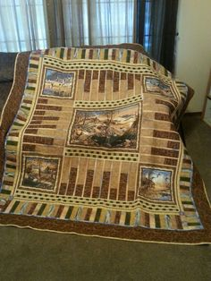 Hand made panel quilt featuring Duck wildlife scenes and completely homemade design. Loaded with embroidered accenting.