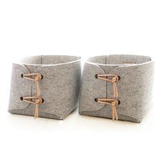 cestas de almacenamiento de información con almacenamiento de juguetes de cuero natural detalles - dos cestas de almacenamiento - contenedores - caja de almacenamiento - cestas de lavandería fieltro minimalista