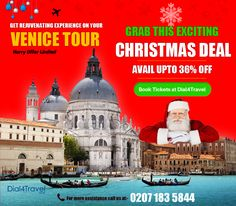 Give yourself a rejuvenating experience on your and celebrate Christmas amazingly. Get fantastic and avail upto Off. Make this Christmas special with your loved ones. So, hurry to avail offer now, offer limited. Best Airlines, Cheap Airlines, Venice Tours, Christmas Deals, First Love, First Crush, Puppy Love
