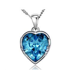NEVI Blue Ocean Heart Fashion Swarovski Elements Rhodium Plated Rope Pendant Chain Jewellery for Women & Girls (Blue)