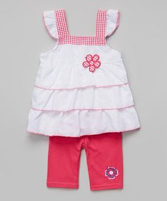 Look at this #zulilyfind! White Tiered Flower Tank & Fuchsia Leggings - Infant & Toddler #zulilyfindsiered Tee & Denim Pants - Infant & Toddler #zulilyfinds