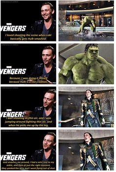 Tom Hiddleston on shooting the hulk scene